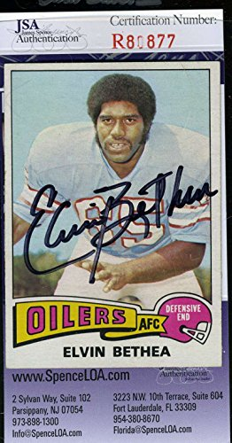 ELVIN BETHEA JSA COA Autographed 1975 TOPPS Authenticated Hand Signed Oilers