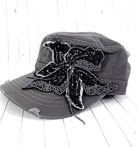 Trucker Hat in Gray with a Large Swarovski Flower Applique ()