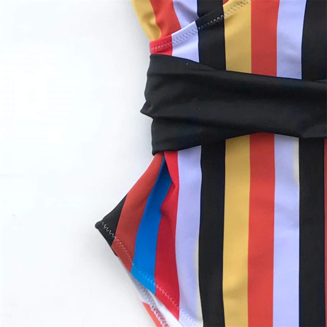 Stripe One-Piece Swimsuit Women Push Up Tied Bow Belt Monokini Bathing Suit