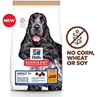 Hill's Science Diet Senior 7+ No Corn, Wheat or Soy Dry Dog Food, Chicken Recipe, White, 15 lb. Bag (604938)