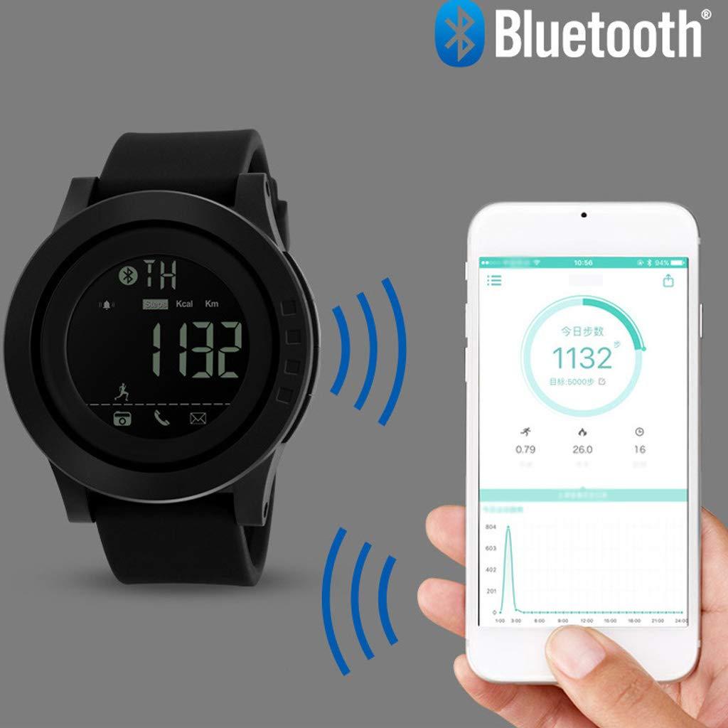 vattentät sportelektronik-lamprör, multifunktionskalori Bluetooth stegräknare social påminnelse kamera fjärrkontroll herrklocka - flerfärgad Cyan