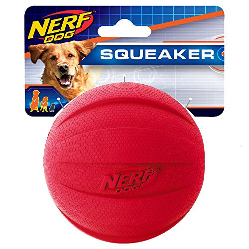 Nerf Dog Squeak Rubbber Ball Dog Toy, Medium/Large, Red