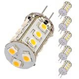 LEDwholesalers Tower Type G4 12V AC/DC LED Bulb with 15xSMD3528 for RV Camper Trailer Boat Marine (6-Pack), White, 1411WHx6