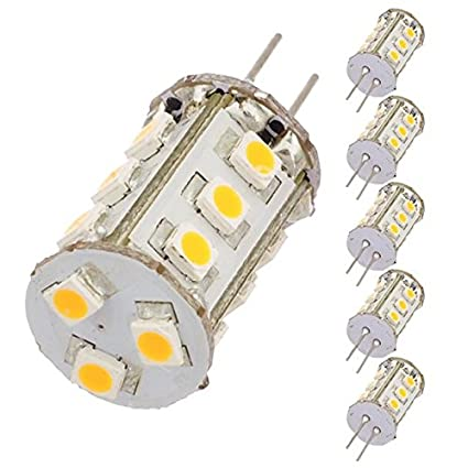 White 6-Pack LEDwholesalers Tower Type G4 12V AC//DC LED Bulb with 15xSMD3528 for RV Camper Trailer Boat Marine 1411WHx6