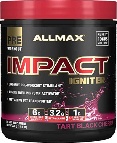 ALLMAX Nutrition Impact Igniter, Pre-Workout Supplement, Tart Black Cherry, 328g