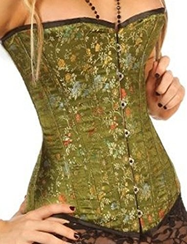 (Leatherotics Green Brocade Silk Corset Basque Fashion Corsets 1801 G (28