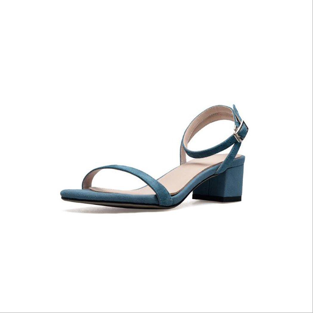 ZZZJR Frauen Sommer Cool Button Sandalen Offen-Toed Frauen Einfache Knouml;chelriemen Medium Thick Schuhe Mary Jane Sandalen  37|Blau