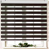 Custom Cut to Size, [Winsharp Basic, Mocha, W 28 x H 103 inch] Horizontal Window Shade Blind Zebra Dual Roller Blinds