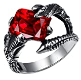 PSRINGS Stainless Steel Square Ruby Paw Gothic Ring Biker Heavy Punk Big Red Crystal Antique Silver 316L ping