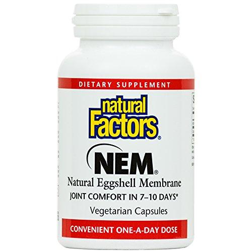 Natural Factors - NEM Natural Eggshell Membrane 500mg, Promotes Joint Comfort & Flexibility, 30 Vegetarian Capsules (Chondroitin 30 Capsules)