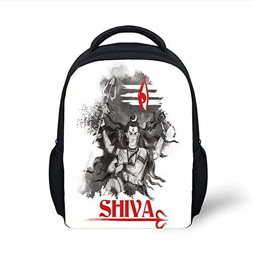 ackpack Ethnic,Religious Figure of Ethnic Religion Holding Trident Red Eye on Stripes Artistic,Grey Red White Plain Bookbag Travel Daypack ()