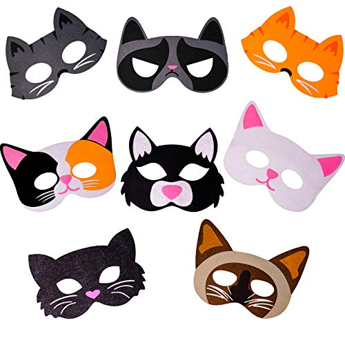 Halloween Masks Party Supplies (Cat Masks Kitten Masks for Kitty Cat Themed Birthday & Halloween Party Supplies, 8 Felt Masks for Kids and)