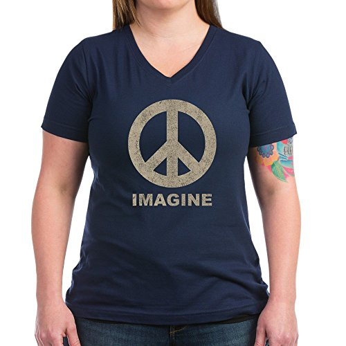 CafePress - Vintage Imagine Peace Women's V-Neck Dark T-Shirt - Womens Cotton V-Neck (Peace Womens Tee)