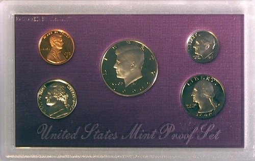 1990 GENUINE US MINT PROOF COIN SET 5 COIN