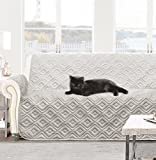DriftAway Water-Resistant Quilted Furniture Protector love-seat Cover Slipcover for Dogs, Kids, Pets - Gray (Love Seat)