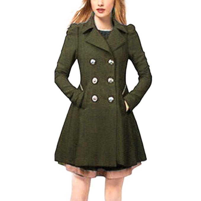 Women/'s Winter Warm Outwear Fleece Lapel Trench Parka Coat Jacket Long Overcoat