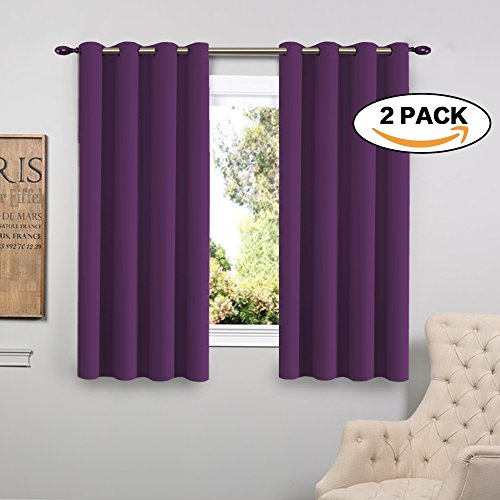 Plum Flamingo (FlamingoP Triple Weave Microfiber Energy Saving Thermal Insulated Solid Grommet Blackout Curtains / Panels for Patio (One Pair,52 Inch by 63 Inch,Indigo Plum))