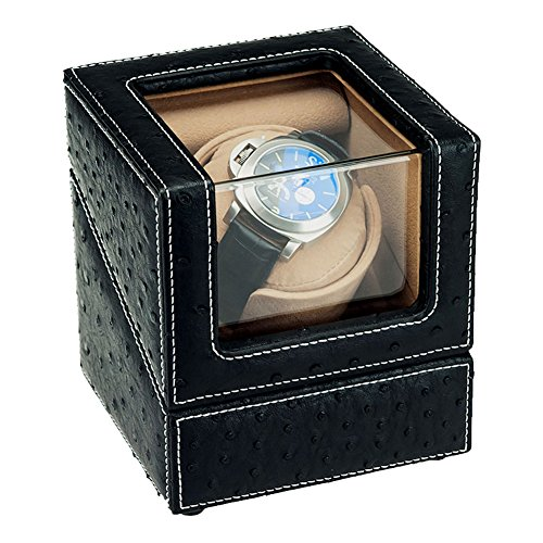 Driklux Automatic Single Watch Winder Case for Rolex with Quiet Motor,Premium Ostrich Leather Exterior and Soft Flexible Watch Pillows(Black+Camel Velvet) (Watch Winders Rolex)