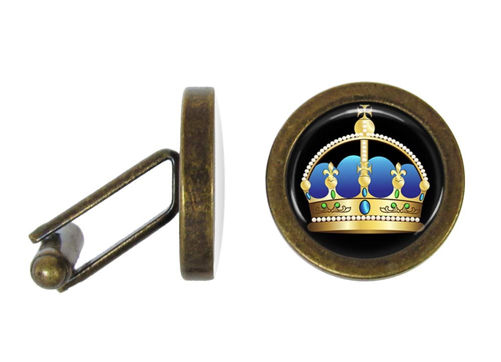 Oakmont Cufflinks Blue and Gold Crown Cufflinks Royal Crown Cuff Links (Angled Edition)
