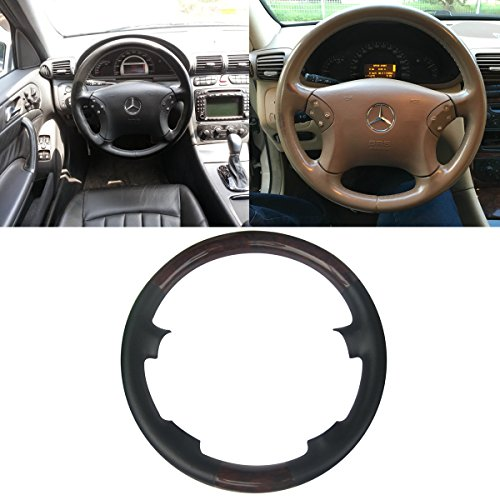 Mercedes Wood Leather Steering Wheel (Black Leather Brown Wood Steering Wheel Protector Cover Cap for 4-Spokes 2000-2007 Mercedes Benz W203 C Class C230 C240 C280 C350 C43 AMG)