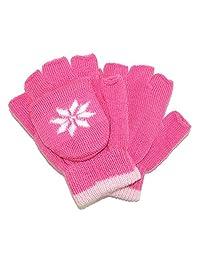 CTM Girls' Stretch Convertible Fingerless Winter Mittens/Gloves, Fuschia/Pink