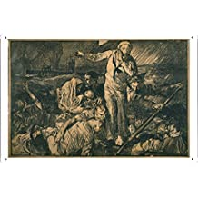 World War I One Tin Sign Metal Poster (reproduction) of Sailors and others in a lifeboat, as one sailor gestures to a submarine in the background