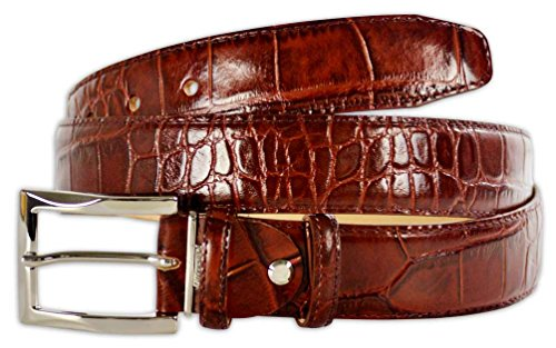 Crocodile Belt (Pasquale Cutarelli Mens Crocodile Pattern Italian Leather Belt (7167) Burgundy 34)