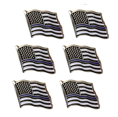 Thin Blue Line American Flag Lapel Pin - Set of 6 Blue Usa Pin