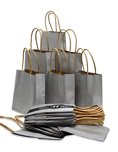 Christmas Gift Wrap Set - Kraft Gift Bags, Metallic colors, 24 extra Small solid bags, 5.75