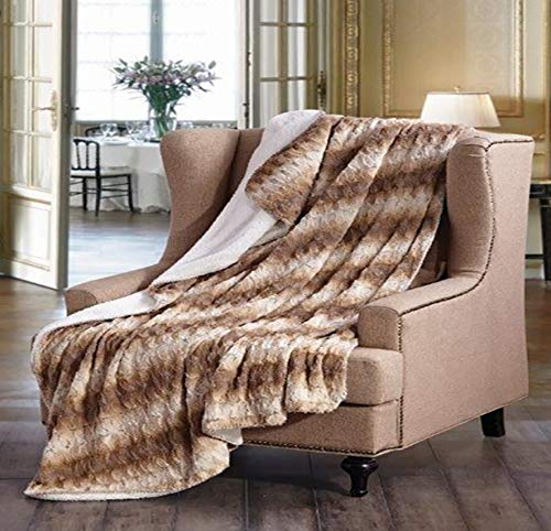 Regal Comfort Faux Fur Luxury Plush Sherpa Throw 50 in x 70 in (Honey Twist) ()