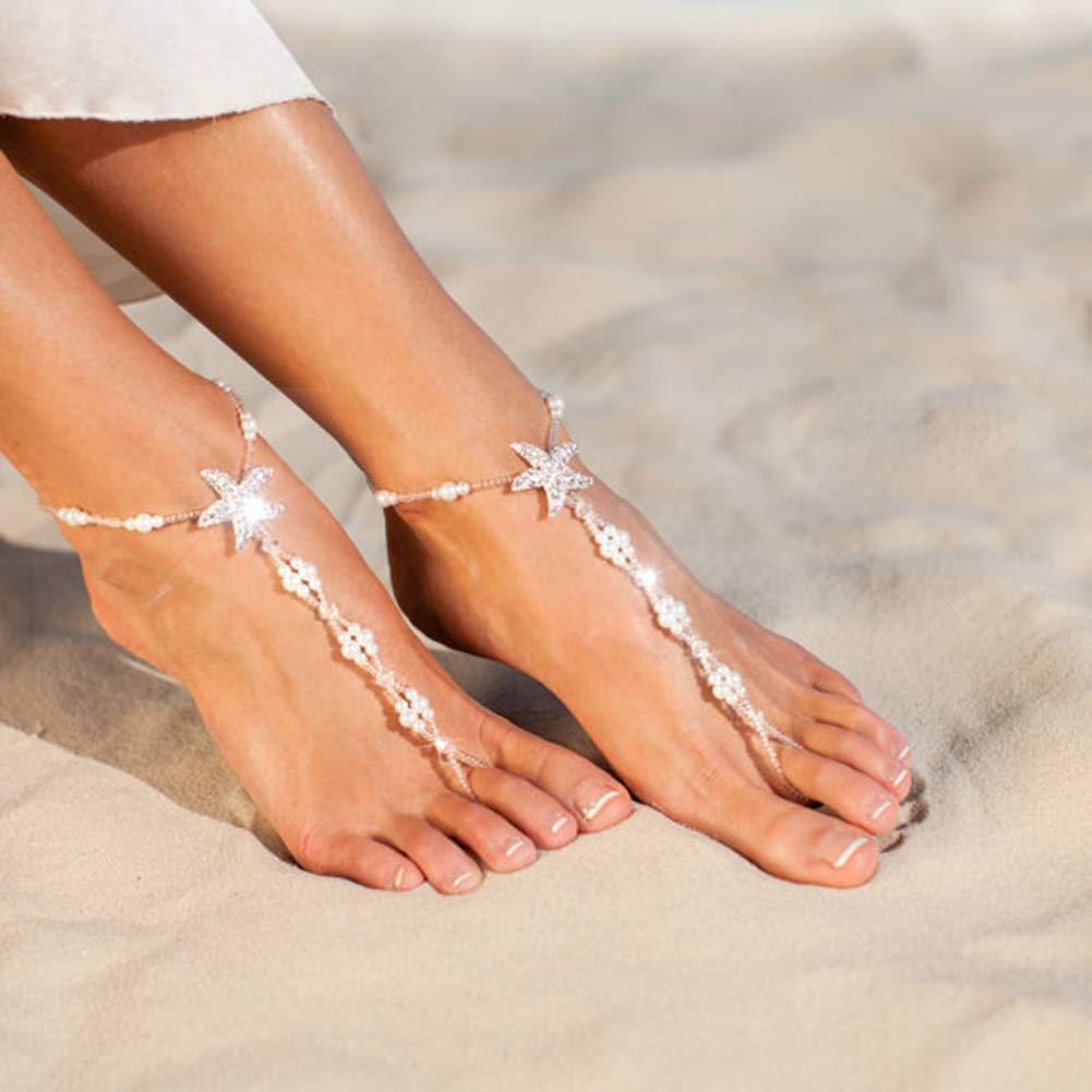 Homeofying Women Boho Starfish Rhinestone Faux Pearl Toe Ring Anklet Ankle Foot Bracelet Boho Beach Vocation Holiday Anklet for Women White