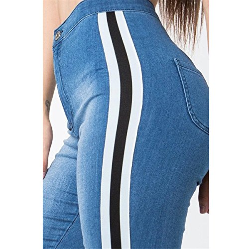 Denim Femmes Paneled BF Pants Style Bandage Fille Casual Jeans Skinny Bodycon Pantalons Didala Haute Stretchy Bleu taille pdw7q7T