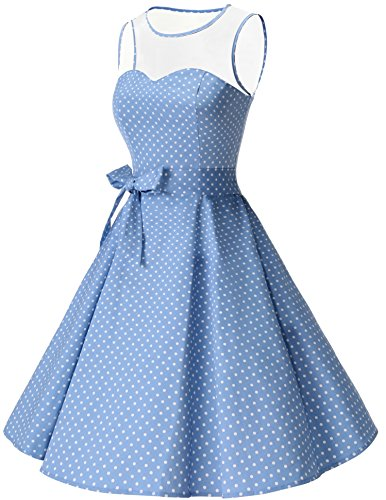 Rockabilly White Small Dress 1950s Bridesmay Blue Hepburn Through See Swing Dot Vintage Audrey Light Women's Owx7zwF0
