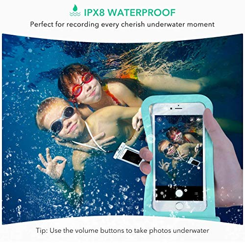 Mpow Universal Waterproof Case, IPX8 Waterproof Phone Pouch Dry Bag Compatible for iPhone Xs Max/Xs/Xr/X/8/8plus/7/7plus/6s/6/6s Plus Galaxy s9/s8/s7 Google Pixel HTC12 (Light Blue+Black 2-Pack) by Mpow (Image #6)