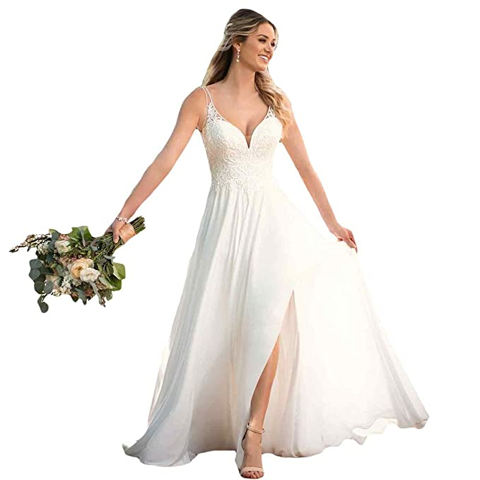 Liyuke Women S A Line Sleeveless Country Wedding Dresses