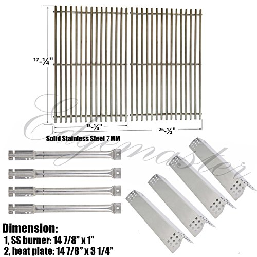 Edgemaster Stainless Steel Burners, Stainless Heat plates and Cooking Grids For Master Forge 1010037 Grill