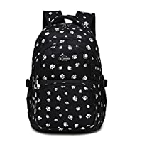 Fanci Lovely Dog Paw Prints Elementary Middle School Backpack Bookbag for Teen Girls Waterproof High School Bag