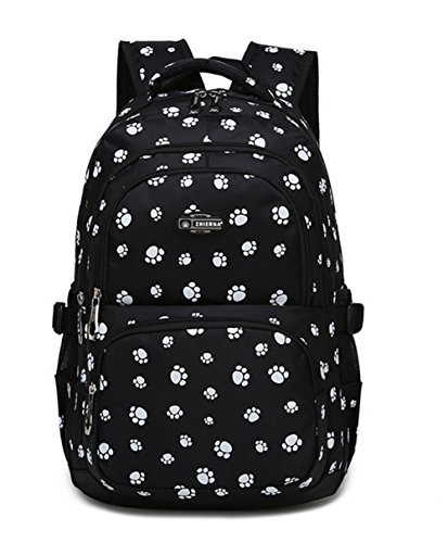 Fanci Lovely Dog Paw Prints Elementary Middle School Backpack Bookbag for Teen Girls Waterproof High School Bag ()