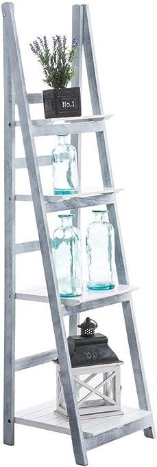 Escalera estante planta decoración Vintage de madera gris/blanco envejecido 4 niveles eta10014: Amazon.es: Hogar