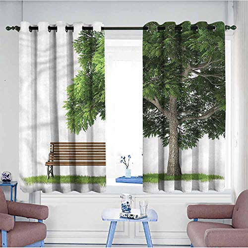 SAMEK Extra Wide Patio Door Curtain,Tree Park Bench Under an Oak Fall,Energy Efficient, Room Darkening,W55x39L