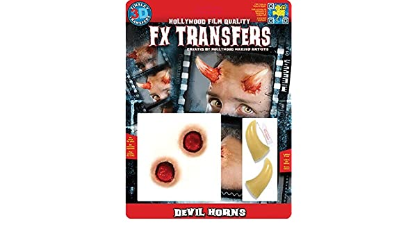 Amazon.com: Tinsley Transfers Makeup FX Transfers Devil Horns (4 Piece) by Tinsley Transfers: Toys & Games