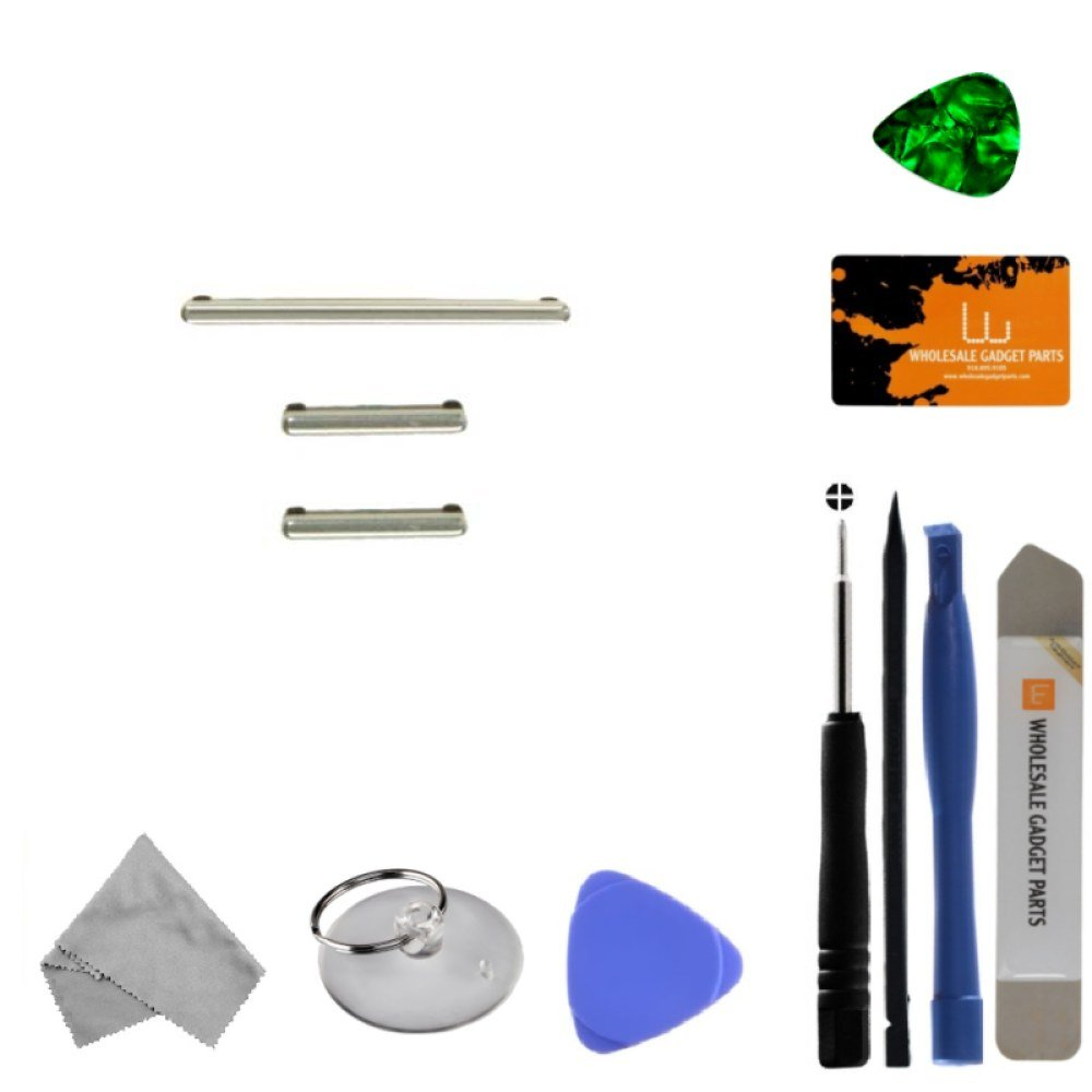 Button Set (Volume, Power, & Bixby) for Samsung Galaxy S8 (Silver) with Tool Kit