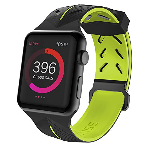 (X-Doria Action Band, Compatible for 42mm Apple Watch Replacement Band - Soft Silicone, Active Watch Band - Compatible with Apple Watch Series 1, Series 2, Series 3 and Nike+, [Black/Yellow])