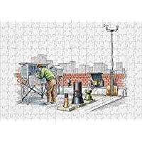 Media Storehouse 252 Piece Puzzle of Weather Station on Rooftop, Man Checking Equipment (13557339)