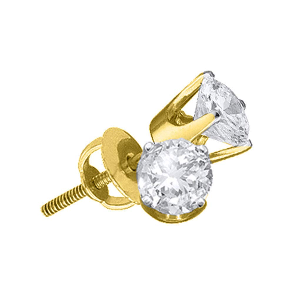 I2 clarity; I-J color FB Jewels 14kt Yellow Gold Unisex Round Diamond Solitaire Stud Earrings 1//20 Cttw