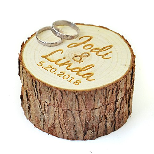Custom Ring Box - Personalized Wood Wedding Ring Box with Name & Date,Wedding Ring Bearer, Custom Rustic Wedding Ring Box