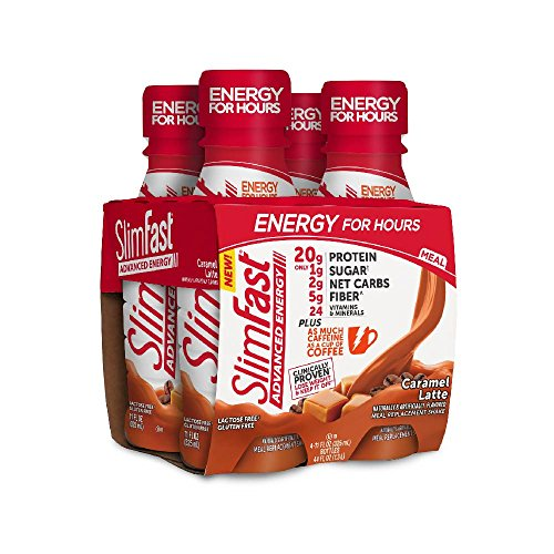 Advanced Protein Shake - SlimFast Advanced Energy, Meal Replacement Shake, High Protein, Caramel Latte, 11 Ounce, 4 Count