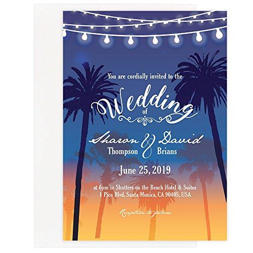Custom - Beach Wedding Invitation Set - Set of 25, Personalized Wedding Invitation, Destination Wedding, Hawaiian Wedding (Invitation + - Hawaiian Invitations Wedding