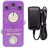 Valeton Coral Mod Digital Modulation Effects Pedal (16 Modes) Plus Valeton 9V DC 1 Amp Power Supply