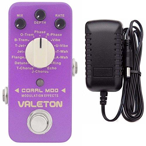 Valeton Coral Mod Digital Modulation Effects Pedal (16 Modes) Plus Valeton 9V DC 1 Amp Power Supply by Valeton